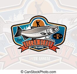Fishing Vector Logo. Salmon Fish icon.