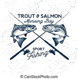 Fishing Vector Logo. Salmon Fish icon. - Vintage Trout and...