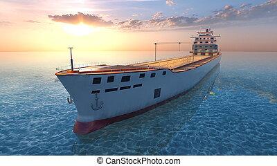 3D CG rendering of the fishing vessel.