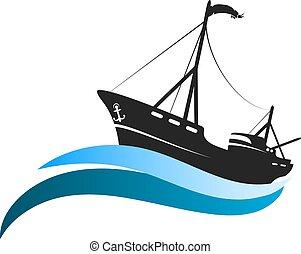 Fishing vessel on blue waves