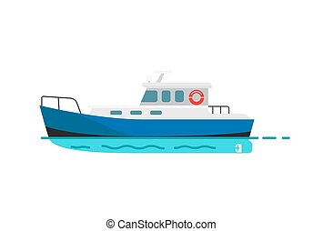 Fishing vessel, speedboat marine nautical type of transport in flat style. Motor boat or sailboat vector illustration isolated on white.