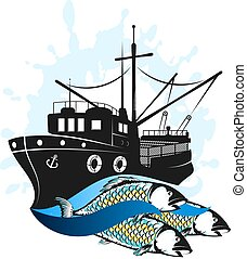 Fishing vessel with catch
