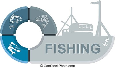 Fishing vessel with infographics