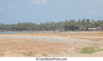 Fishing vilage sand beach - Gyeiktaw village, Ngapali beach,...