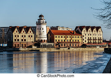 Fishing Village - ethnographic and trading-craft center in Kaliningrad. Quarter, built houses in the German style