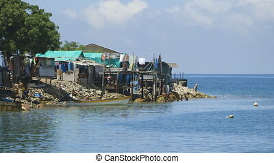 Fishing village in Papua new guinea - Wide angle view of a...