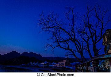 Fishing village just before sunrise