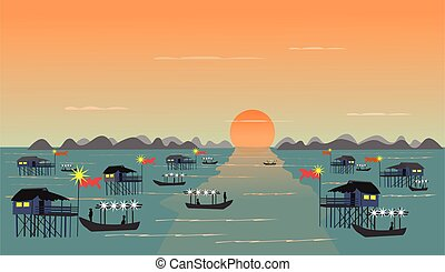 Fishing village on the sea Have a fishing boat sunset background