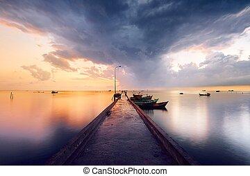 Pier in fishing village - Phu Quoc island, Vietnam