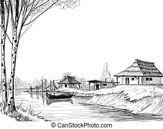 Fishing village sketch