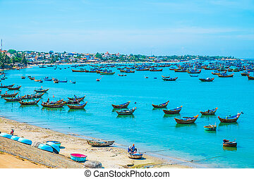 Fishing village with lots of boats