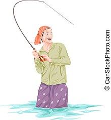 fishing., wektor, rybak