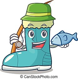Fishing winter boot on the character rak vector illustration