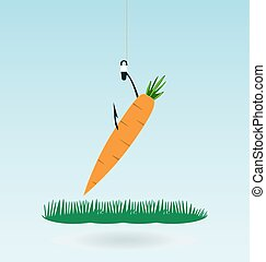 fishing with a carrot, grass concept