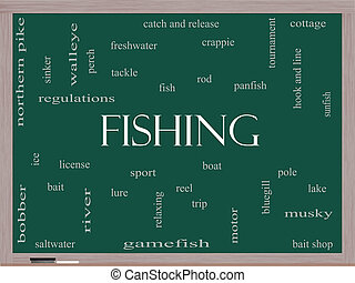 Fishing Word Cloud Concept on a Blackboard with great terms...