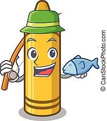 Fishing yellow crayon in the cartoon wallet