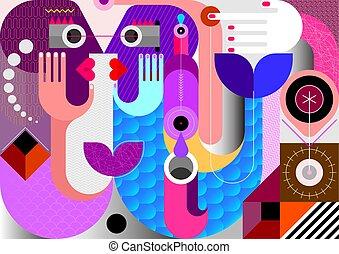 Fishmen abstract art vector illustration