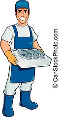 Fishmonger - Friendly fishmonger with a box with various ...