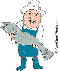 Fishmonger Presenting Fish Cartoon