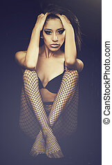 fishnet, excitado, mulher, stockin, jovem