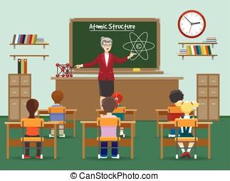 fisica, lezione, con, bambini, in, aula