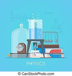 fisica, scienza, educazione, concetto, vettore, manifesto, in, appartamento, stile, disegno