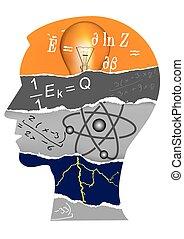 fisica, testa, silhouette, studente