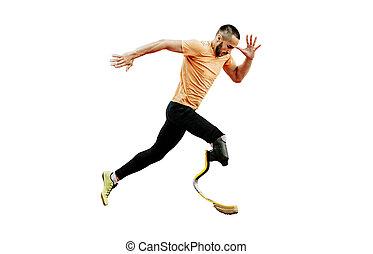 fisicamente, atleta inválido, executando