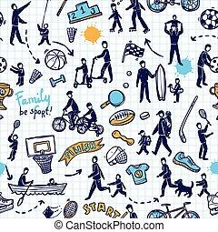 fisico, modello, seamless, attività