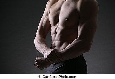 fisiculturista, mostrar bíceps
