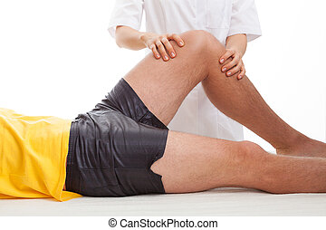 fisioterapeuta, masajear, un, pierna