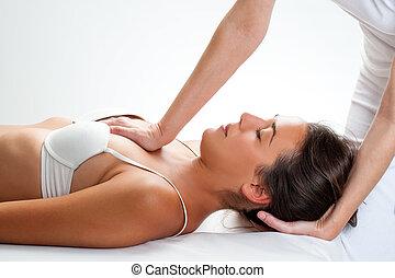 fisioterapeuta, woman., tórax, manipulación