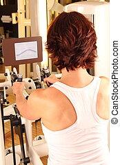 fisioterapia, mulher, ginásio, malhação