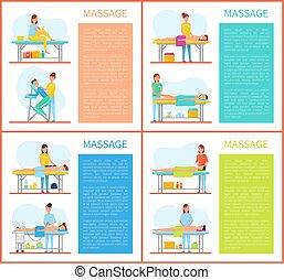 fisioterapia, muscoli, rilassante, massaggio, stiramento