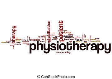 fisioterapia, parola, nuvola