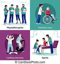 fisioterapia, reabilitação, 4, apartamento, ícones, quadrado