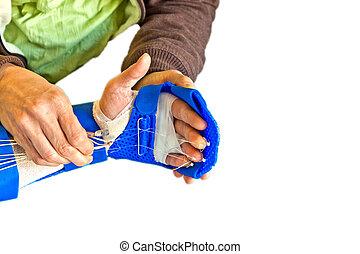 fisioterapia, recuperare, dito, mano