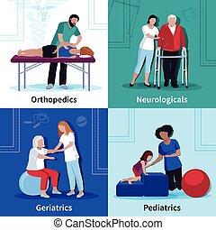 fisioterapia, rehabilitación, 4, plano, iconos, cuadrado