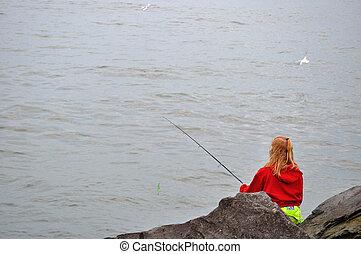 fiskar, kvinna, erie, insjö