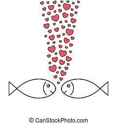 fiskar, love., två, hearts-bubbles.