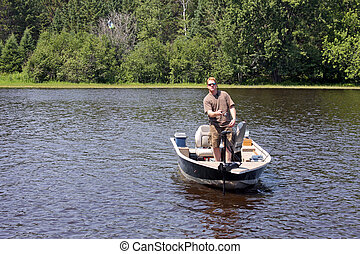 fiskare, in, a, båt