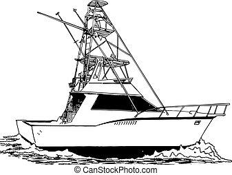fiskare, torn, sport, stort