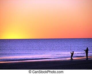 fiske, hos, solnedgang