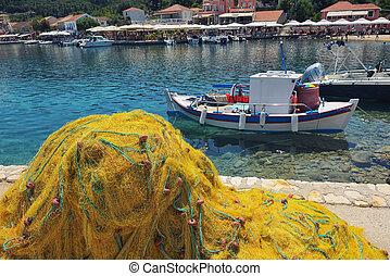 fiske internet, ind, fiskardo, kefalonia, landsby, -, juli, 01, 2018, fiskardo