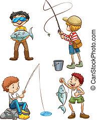 fiske, män, skiss