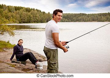 fiske, på, att campa snubblar