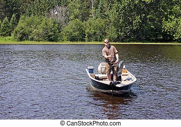 fisker, ind, en, båd