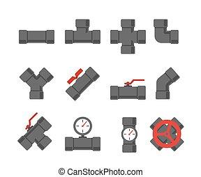 fissaggio del tubo, set., conduttura, illustration.,...