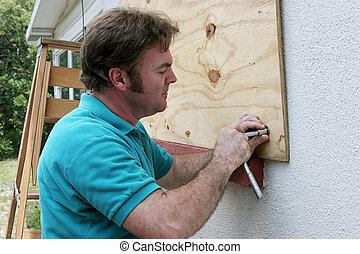 fissaggio, windows, legno compensato