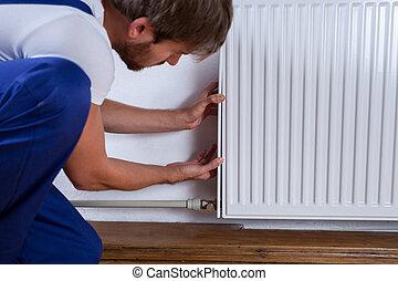 fissare, uomo tuttofare, radiatore